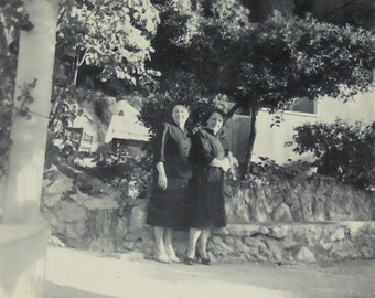 Vintage French Photograph - Two Women Stood Outside Under a Tree