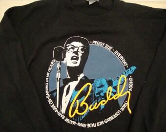 Vintage Buddy Holly and the Crickets rockabilly Rare black Crew Neck Sweatshirt XL