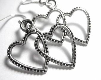Intertwined Heart Silver Charm Earrings 101