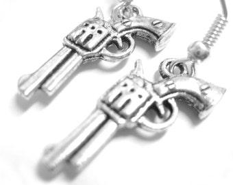 Silver Gun Earrings - Gun Jewelry Pistol Earrings Police Gangster Costume Accessory  096