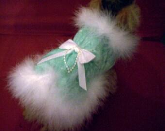 Sale!  50% Off --- Mint Green Velvet Dog Harness Coat with Marabou Boa Trim-- XXS Only