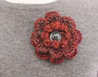 Crochet Flower Pin-Multicolored Flower Pin- Flower Brooch-Crochet Flower-Crochet Flower with Button-Crocheted Pin-Crochet Brooch-Fall Pin