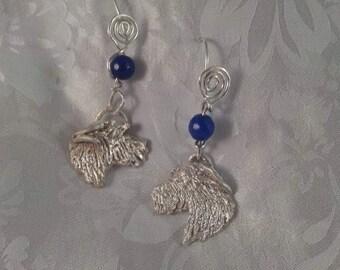 Irish Wolfhound 999 Silver Earrings w/bead