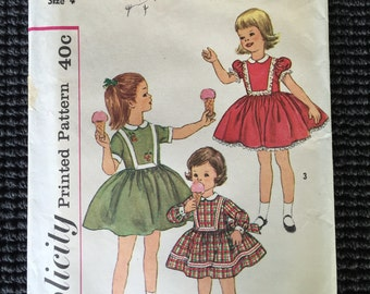 Vintage Simplicity 3564 Girl's One Piece Dress Sewing Pattern Size 4 UNCUT