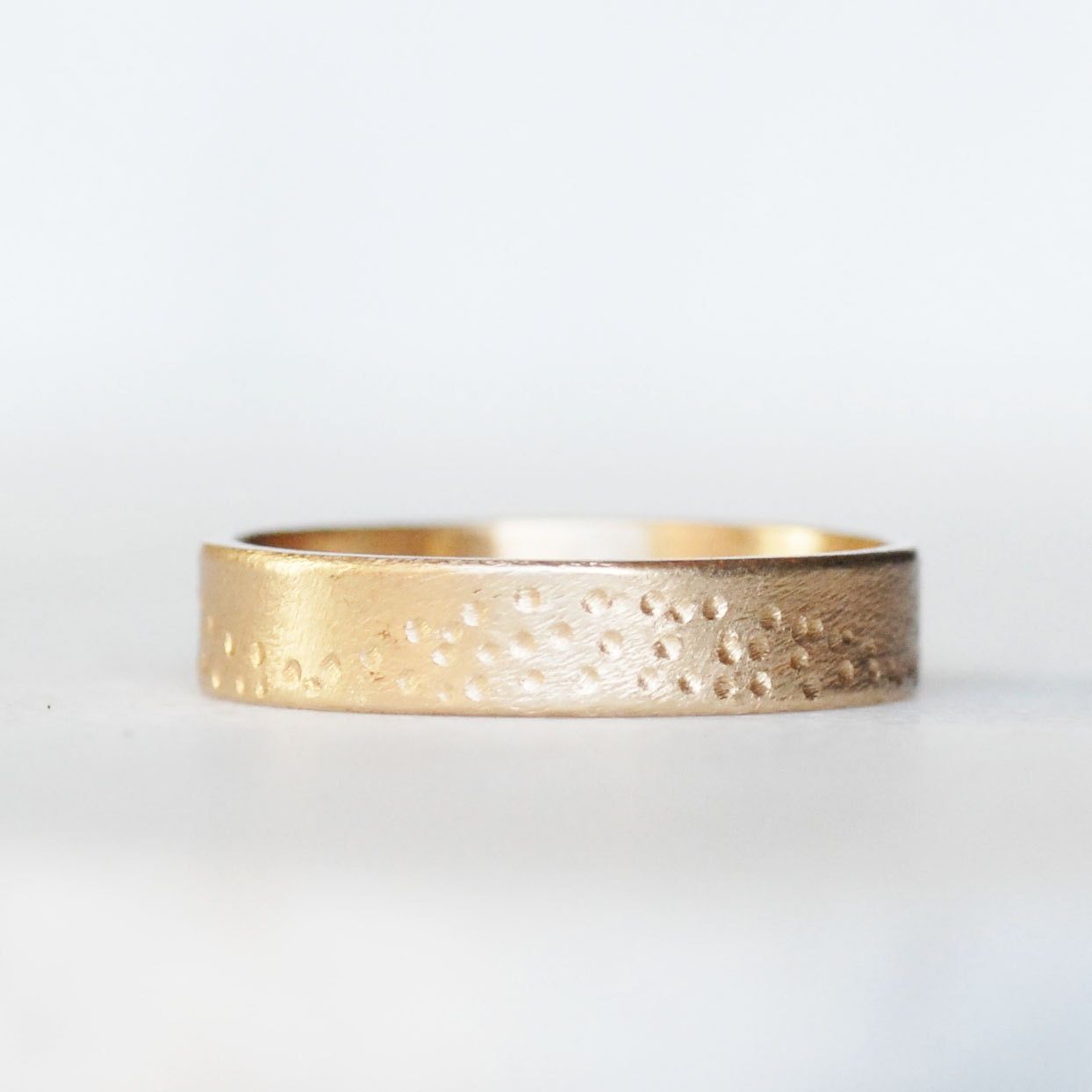 wide gold wedding band 5mm 14k gold shoreline ring thick