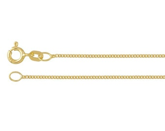 14K Sold Yellow Gold 1mm Diamond-Cut Flat Curb Chain, choose your length.