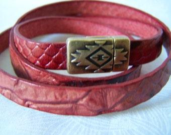 Wrap Bracelet Triple Snakeskin Leather Southwestern Cuff Style