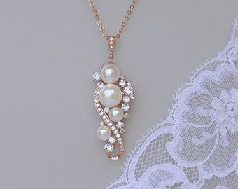 Rose Gold Pearl Necklace, Rose Gold Bridal Necklace, Silver, Rose Gold and 18k Gold Options, Jewelry, TILLY RG