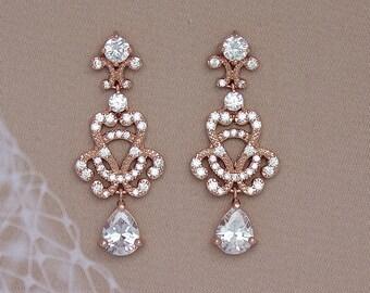 Rose Gold Crystal Earrings,  Gold Crystal Earrings,  Chandelier Earrings, Vintage Wedding Jewelry,  CELINE C