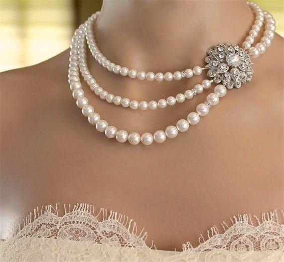 Pearl Bridal Necklace, Art Deco Pearl Strand Necklace, Wedding Jewelry, Bridesmaid Jewelry AIMEE