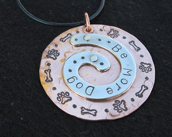 Be More Dog Tripawd Pendant in Copper and Silver Aluminum