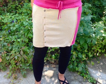Upcycled Sweater Skirt Hot Pink And Tan