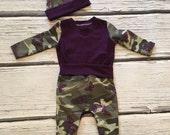 Girls Circle Bum Pants Long Sleeve Shirt and Knot Hat Set Purple Camo Collection Toddler Child Boutique Elli'Ette