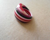 Vintage Carlos Sobral Lucite Striped Ring 70s Red Black Pink 6 1/2 SALE