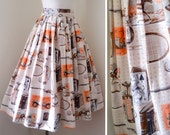 1950s Novelty hobbies print full skirt / 50s pleated day skirt - S