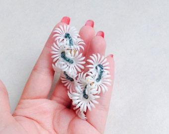 1950s White & blue floral climber earrings / 50s evening earrings