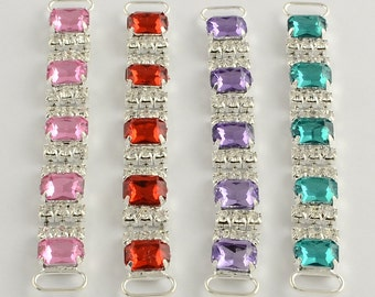 1pc Colorful small Square Gem and Rhinestone Connector for Headbands, Bikini's, Swimsuits, and DYI projects