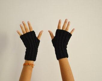 Winter gloves knit fingerless mittens in black wool for women