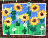 Wall Hanging-Yellow Sunflowers-Fall Home Decor-Handmade Quilted