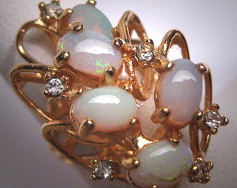 Vintage Australian Opal Ring Estate Retro Art Deco 1950