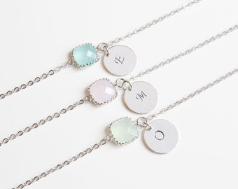 Birthstone & Initial Bracelet- Personalized Bracelet-Birthstone Bracelets-Choose your own color and initial.Bridesmaids Bracelets.