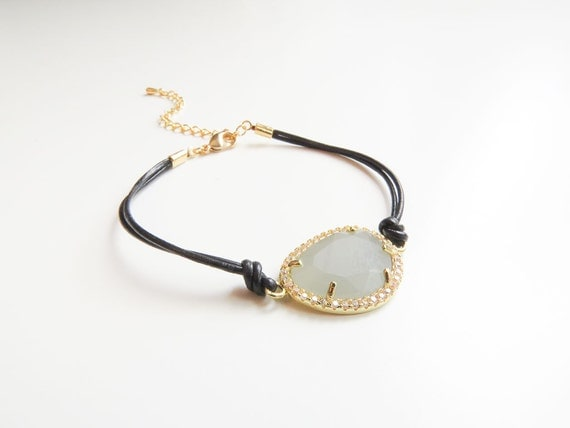 Gemstone Bracelet | Layering Bracelet | Delicate Gold Bracelet | Leather Bracelet | Leather Jewelry | Gifts for her
