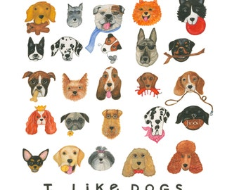 "I Like Dogs - 25 Breeds 12"" X12"" Color Print"
