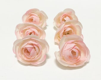 6 Small Light PINK Ranunculus Buds -  Artificial Flowers, Wedding Flowers, Flower Crown
