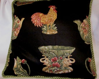 Country French Black Cottage Pillow Majolica Pottery Roosters Pitchers Vases