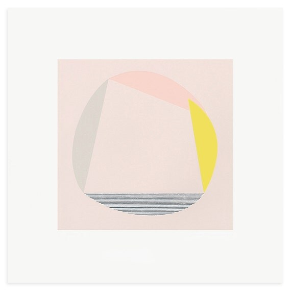 Colour block screenprint, abstract screenprint 'Forest II', large, square, original and totally handmade modern art in pink, yellow & grey.