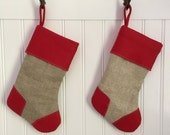 Christmas Stocking Vintage Linen with Red Cuff for Pet Cat Dog