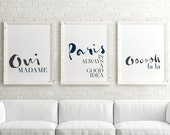Set of 3 Prints // Paris is always a good idea, Typographic Prints, Modern Wall Art, French Quote, Minimalist Typography Poster, Chic Office