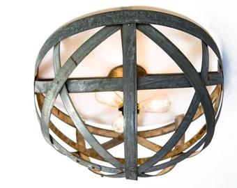 "ATOM -  ""Orbis"" - Ceiling Mount Triple Light Wine Barrel Ring Chandelier  - 100% RECYCLED"
