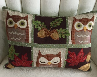 NEW!  OWL TAPESTRY for Fall!  13x18.  Wide-eyed and sleepy owls, fall leaves and nuts, autumn colors. Owl lovers accent for any room's decor