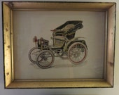 Pair Of Antique Horseless Carriage Prints
