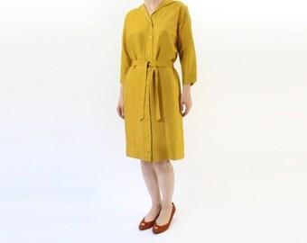 VINTAGE Mustard Yellow Dress Silk Belted Medium