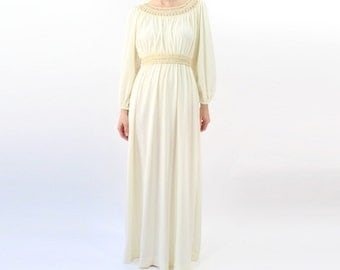VINTAGE 1970s Crochet Gown Boho Maxi Dress