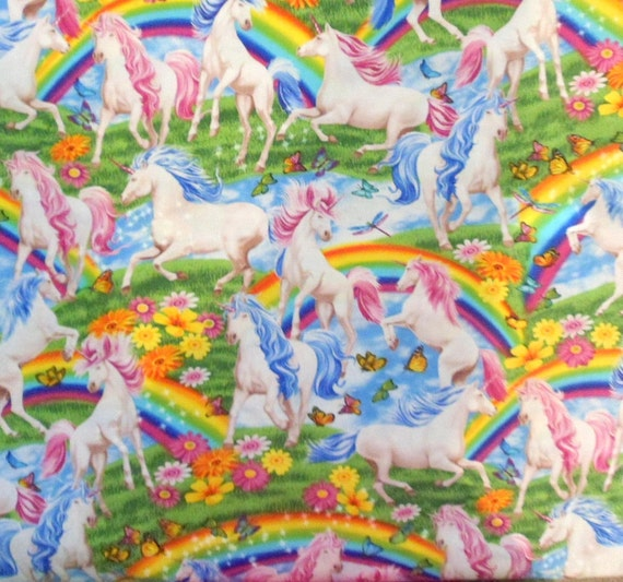 Unicorn fabric rainbow fabric girls fabric horse fabric for Horse fabric for kids