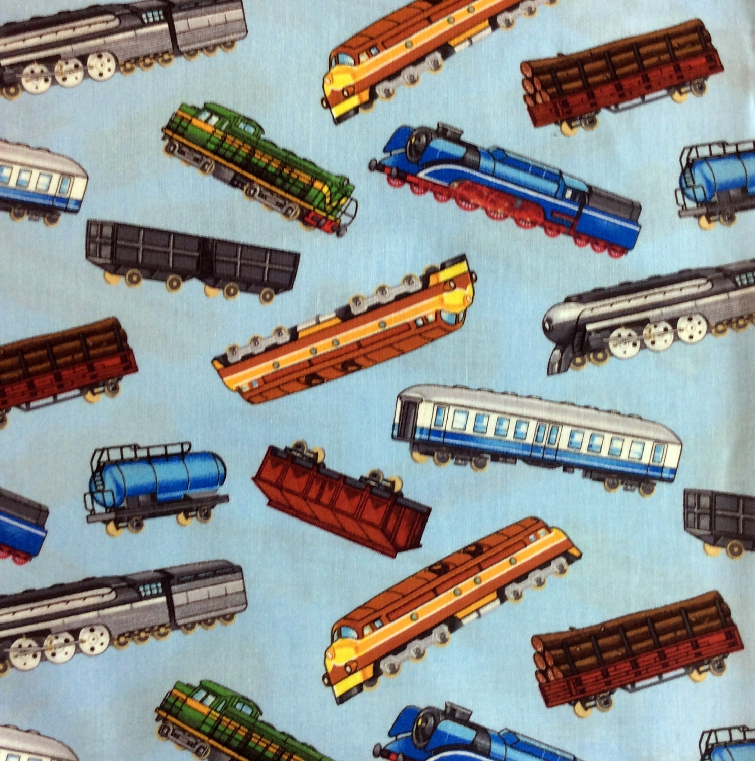 Trains fabric model train material timeless treasures for Train fabric by the yard