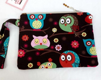 Colorful Owls in a Tree Wristlet
