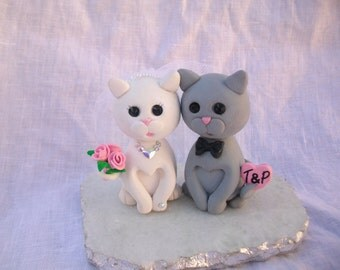 Cats bride and groom wedding cake topper