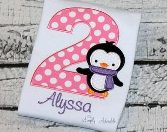 Girl's Penguin Birthday Shirt, Personalized Penguin Birthday, Penguin Shirt, Penguin Birthday, Onederland Birthday,