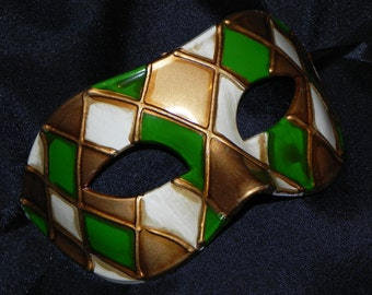 Off White, Green and Gold Harlequin Mask