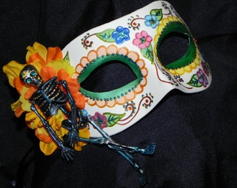 Multi Colored, Black and White Day of the Dead Mask with Skeleton Accent - Halloween Mask