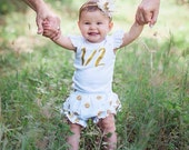 ONE or 1/2 birthday Bodysuit with flutter sleeves.