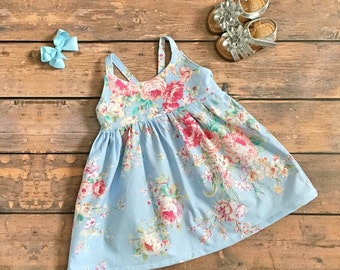 Baby Blue Floral Dress - Shabby chic birthday outfit - first birthday - Vintage birthday - shabby chic dress