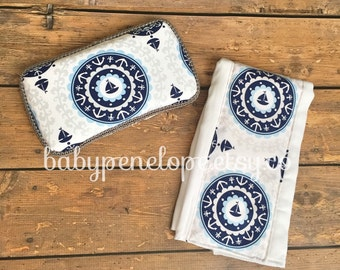 Boutique Style Burp Cloth and Travel Wipes Case Set  - Nautical - Ready to Ship