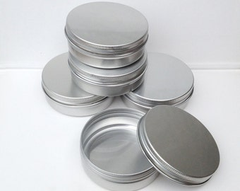 small metal tins blank round silver color 100ml screw lidded aluminium tins