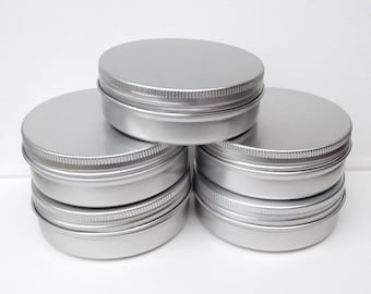 small metal tins, blank round silver color, 100ml screw lidded, aluminium tins (6 tins)