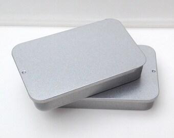 40ml sliding lid tins, rectangular metal tins, color silver, small storange (a set of 50 tin boxes)